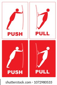 Push Pull.Cartoon actions of a man with a door.push pull text on red color background.