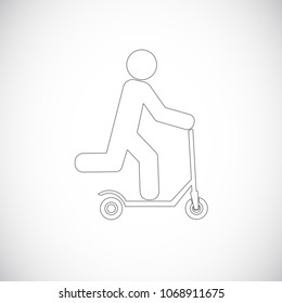 push scooter outline icon