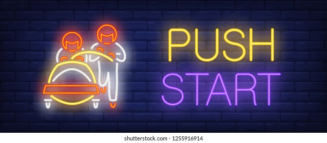 Push start neon sign. Glowing inscription with red bob and two sportsmen on brick wall background. Vector illustration can be used for sport, competition, bobsleigh