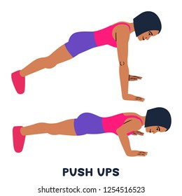 Push ups. Sport exersice. Silhouettes of woman doing exercise. Workout, training Vector illustration