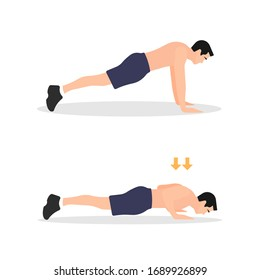 Push up workout training exercise steps. Man doing push-ups. Fitness instructions step by step. Male bodybuilding instructor. Sport icon. Sports symbol - Simple flat vector character illustration.