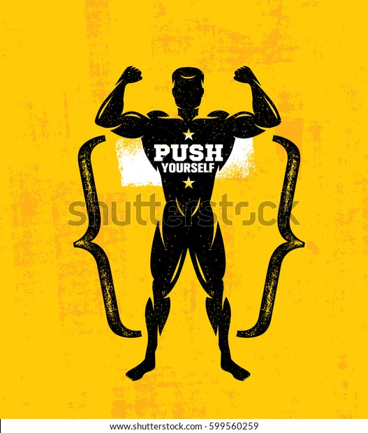 Push Yourself Workout Fitness Gym Sport Stock Vector