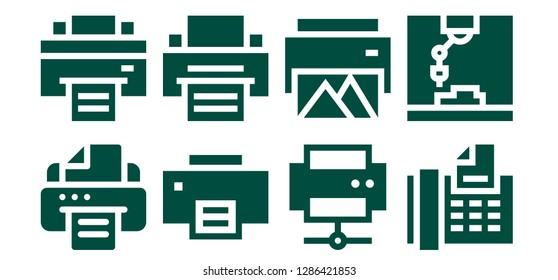 pushbutton icon set. 8 filled pushbutton icons. Simple modern icons about  - Printer, Fax