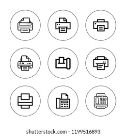 Pushbutton icon set. collection of 9 outline pushbutton icons with fax icons. editable icons.