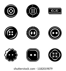 Pushbutton icons set. Simple set of 9 pushbutton vector icons for web isolated on white background