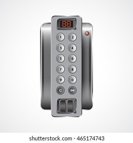 The push-button on-door speakerphone on a light gray background
