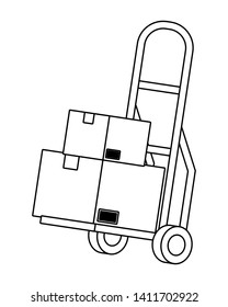pushcart with box in black and white