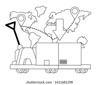 pushcart carrying a box in black and white