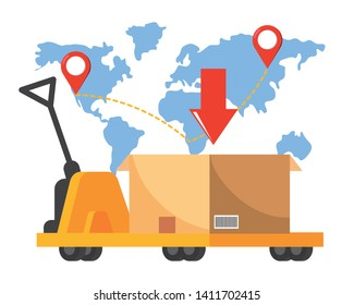 pushcart carrying a box vector illustration