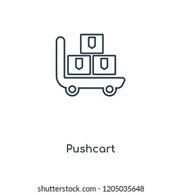 Pushcart concept line icon. Linear Pushcart concept outline symbol design. This simple element illustration can be used for web and mobile UI/UX.