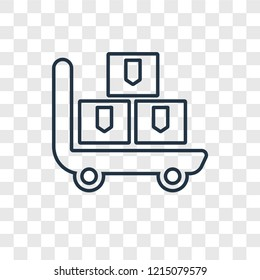 Pushcart concept vector linear icon isolated on transparent background, Pushcart concept transparency concept in outline style