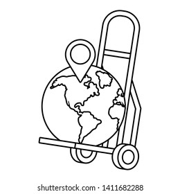 pushcart with a globe in black and white