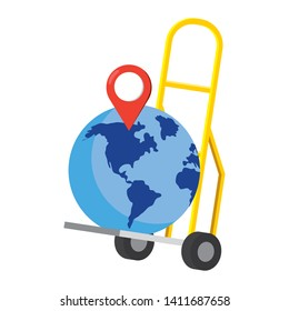 pushcart with a globe vector illustration