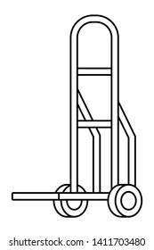 pushcart icon cartoon in black and white