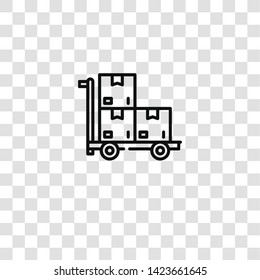 pushcart icon from industrial process collection for mobile concept and web apps icon. Transparent outline, thin line pushcart icon for website design and mobile, app development