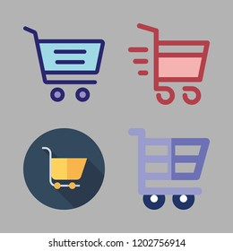 pushcart icon set. vector set about shopping cart and carts icons set.