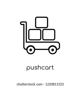 pushcart icon. Trendy modern flat linear vector pushcart icon on white background from thin line collection, outline vector illustration