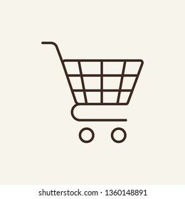 Pushcart line icon. Shopping cart, trolley, basket. Shopping concept. Vector illustration can be used for online store, ordering, payment