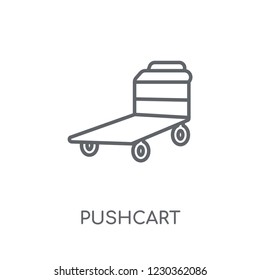 Pushcart linear icon. Modern outline Pushcart logo concept on white background from Industry collection. Suitable for use on web apps, mobile apps and print media.