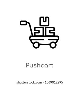 pushcart vector line icon. Simple element illustration. pushcart outline icon from industry concept. Can be used for web and mobile