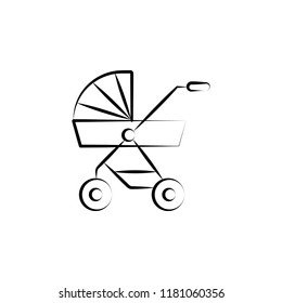 Pushchair of baby concept line icon. Simple element illustration. Pushchair of baby concept outline symbol design from Motherhood set. Can be used for web and mobile UI UX on white background