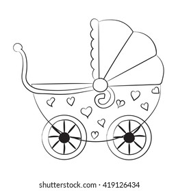 Pushchair with hearts