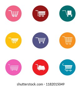 Pushchair icons set. Flat set of 9 pushchair vector icons for web isolated on white background