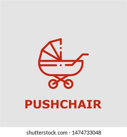 Pushchair symbol. Outline pushchair icon. Pushchair vector illustration for graphic art.