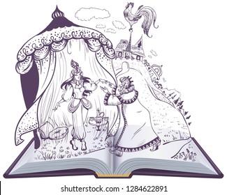 Pushkin fairy tale of Golden Cockerel open book illustration. Vector cartoon isolated on white