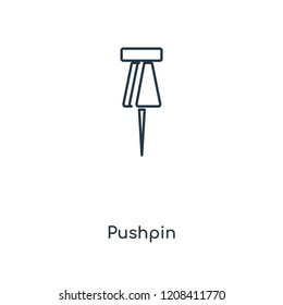 Pushpin concept line icon. Linear Pushpin concept outline symbol design. This simple element illustration can be used for web and mobile UI/UX.