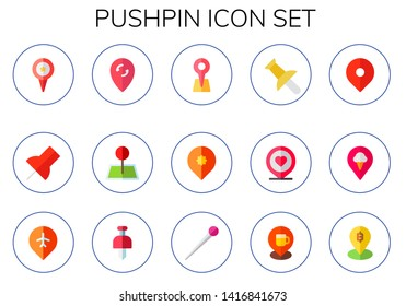 pushpin icon set. 15 flat pushpin icons.  Simple modern icons about  - pin, push pin