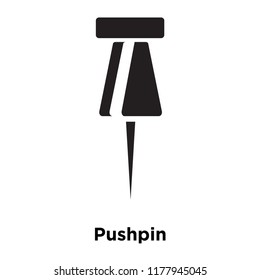 Pushpin icon vector isolated on white background, logo concept of Pushpin sign on transparent background, filled black symbol
