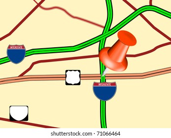 Pushpin on blank map with interstate highways