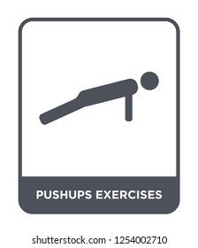 pushups exercises icon vector on white background, pushups exercises trendy filled icons from Gym and fitness collection, pushups exercises simple element illustration