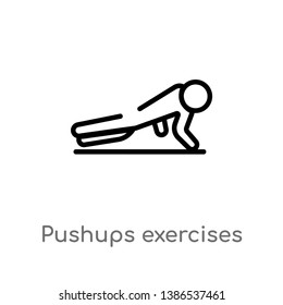 pushups exercises vector line icon. Simple element illustration. pushups exercises outline icon from gym and fitness concept. Can be used for web and mobile
