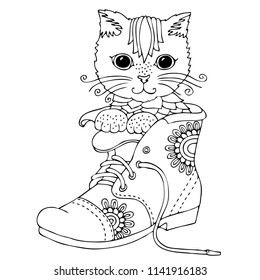 Puss in Boot. Hand drawn Kitten. Sketch for anti-stress adult coloring book in zen-tangle style. Vector illustration  for coloring page or for print on T-shirt.