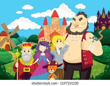 Puss in Boots. Beautiful background with castles, pond, mill and fields. Characters of fairy tales puss, princess, king, boy and ogre. Children's vector illustration. Fairy tale background.