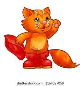 Puss in boots. Children illustration. Isolated illustrashion on white background.