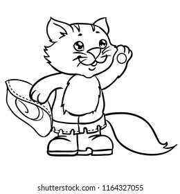 Puss in boots. Children illustration. Page for coloring book.