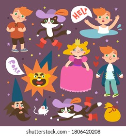 Puss in Boots set. Characters of fairy tales puss, princess, boy and wizard. Children's vector illustration for Fairy tale.