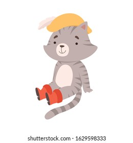 Puss in Boots Sitting on the Ground Vector Illustration