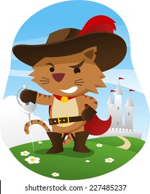 Puss in boots with wise funny face and sword, with castle behind him, hat with feather, cape, sword, and belt vector illustration.