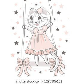 Pussycat on a swing among the stars. Cartoon hand drawn vector illustration. Can be used for t-shirt print. Kids wear fashion design. Baby invitation card
