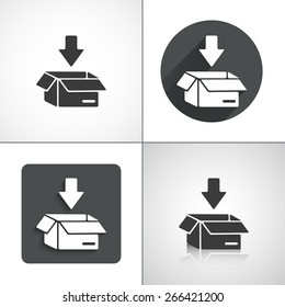 Put in a box icon. Flat shadow designs. Vector illustration.