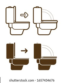 Put down the toilet seat icon cartoon graphic vector.