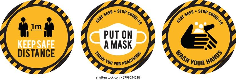 Put on a mask icon signage