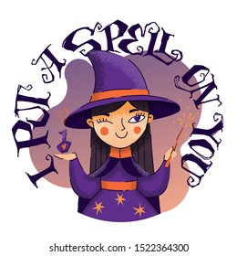 I put a spell on you - halloween hand drawn lettering phrase. Funny holiday vector illustration. Cute cartoon witch character with bottle and magic stick.
