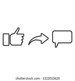 Put thumb up, share and comment. Social repost design vector