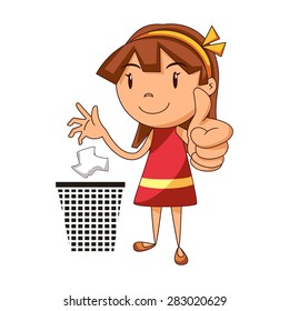 Put trash in its place, girl, vector illustration