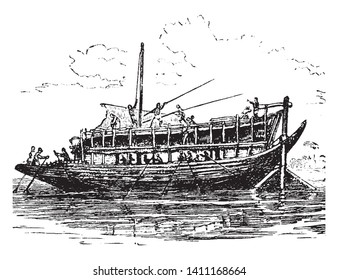Puteli used for transporting the products of India down the Ganges, vintage line drawing or engraving illustration.